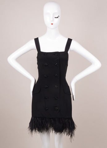 Black Silk Feather Trim Sleeveless Dress