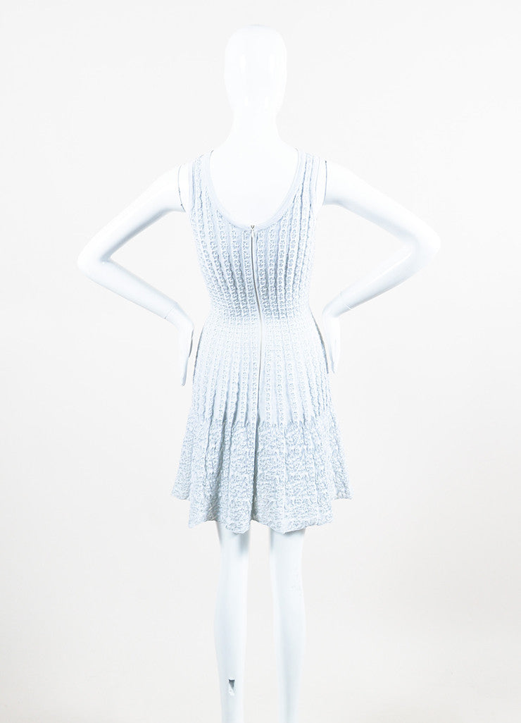 Light Blue Alaia Stretch Ribbed Knit Woven Eyelet Detail Sleeveless Dress Backview