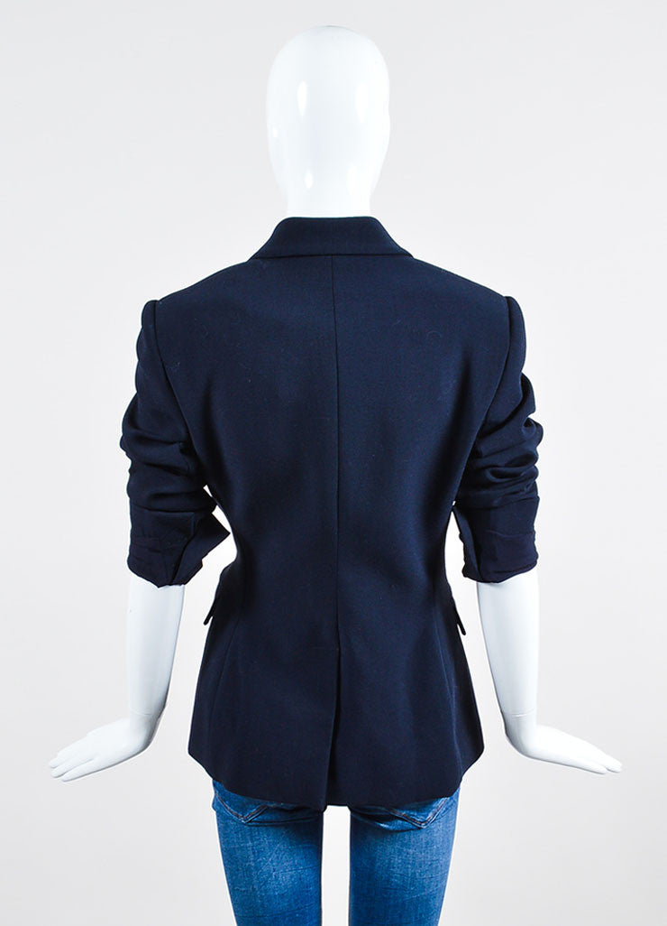 Navy Alexander McQueen Stretch Wool Double Breasted Blazer Backview