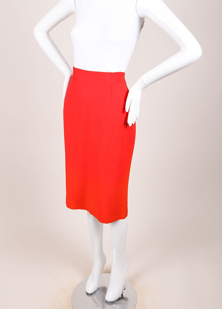 Alexander McQueen New With Tags Red Crepe Ombre Pencil Skirt Sideview