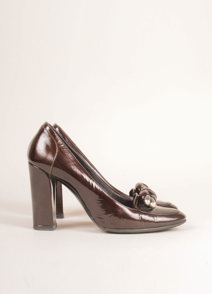 Balenciaga Brown Patent Leather Knotted Loafer Pumps Sideview