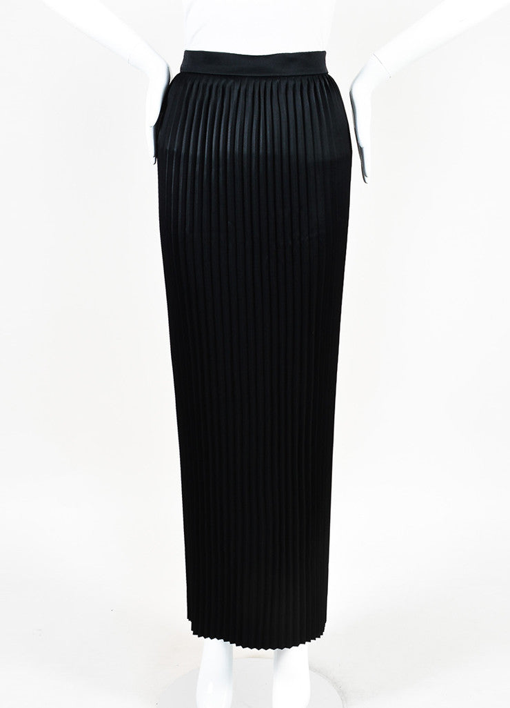 Balmain Black Satin Accordion Pleated Maxi Skirt Frontview