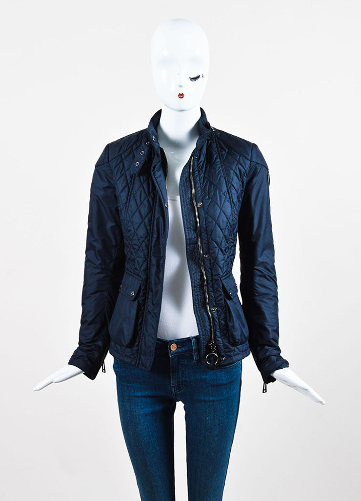 "Belstaff Navy Blue Nylon Quilted Zipped ""Aynsley"" Jacket Frontview"