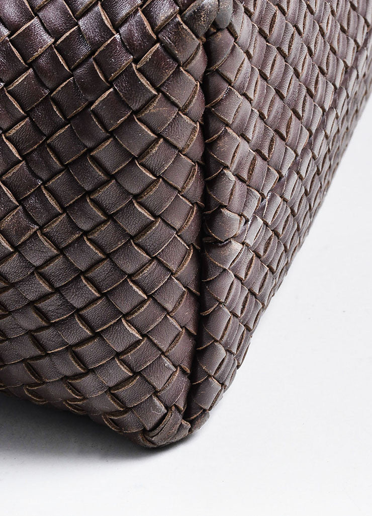 "Brown Bottega Veneta Woven Leather ""Medium Cabat"" Tote Detail 3"