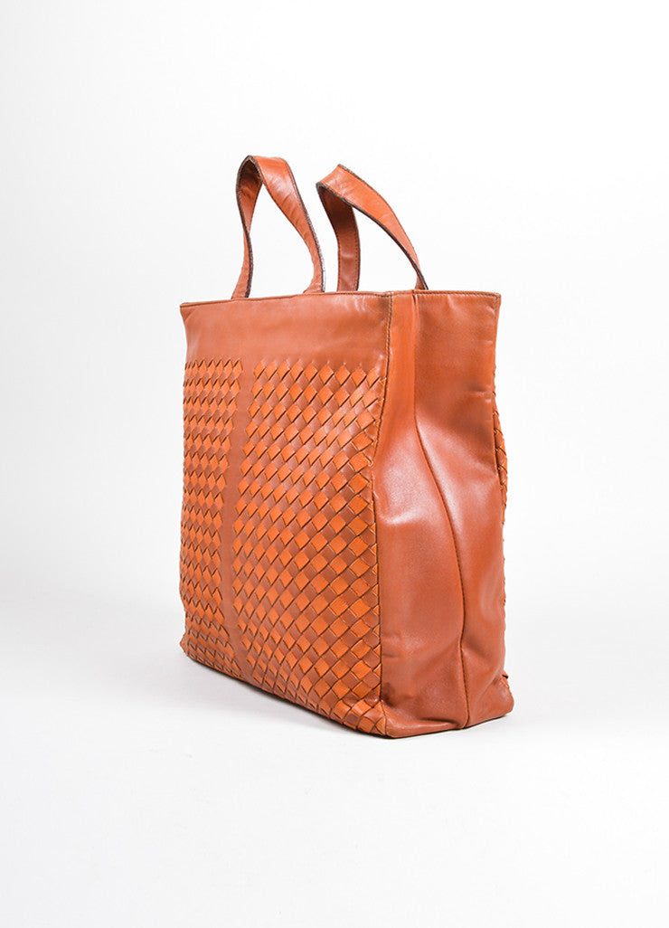 Bottega Veneta Cognac Brown Woven Intrecciato Leather Tote Bag Sideview