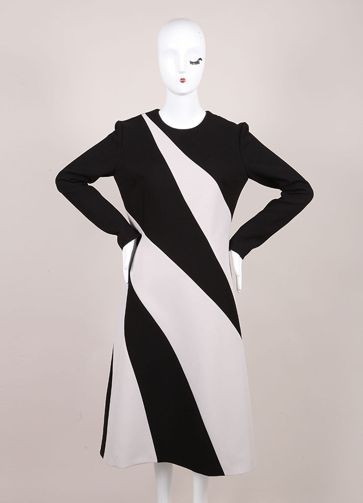 Bottega Veneta New With Tags Black and Cream Stripe Panel Long Sleeve Crepe Dress Frontview
