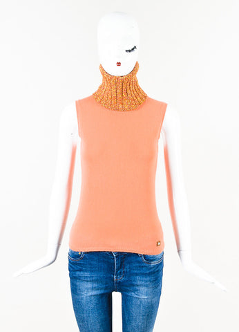 Chanel 01A Light Coral Yellow Pink Cashmere Turtleneck Sleeveless Top Front