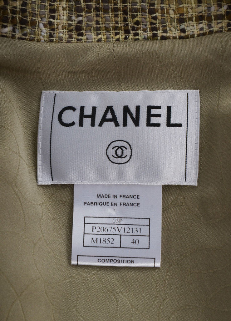 Chanel Cream and Brown Woven Knit Patterned Long Sleeve Jacket Brand