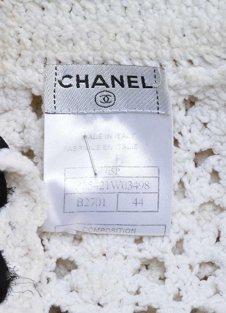 Chanel White Black Crochet Knit Ruffle Trim Cardigan Brand