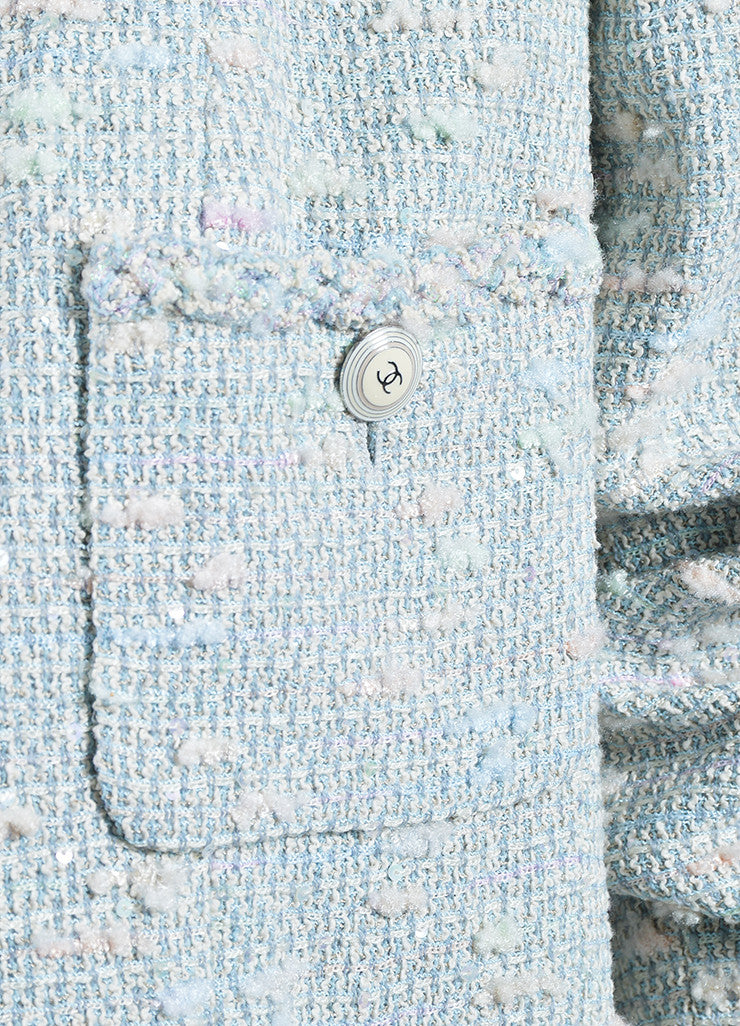 Pastel Blue and Multicolor Chanel Sequin Boucle Open Jacket Detail