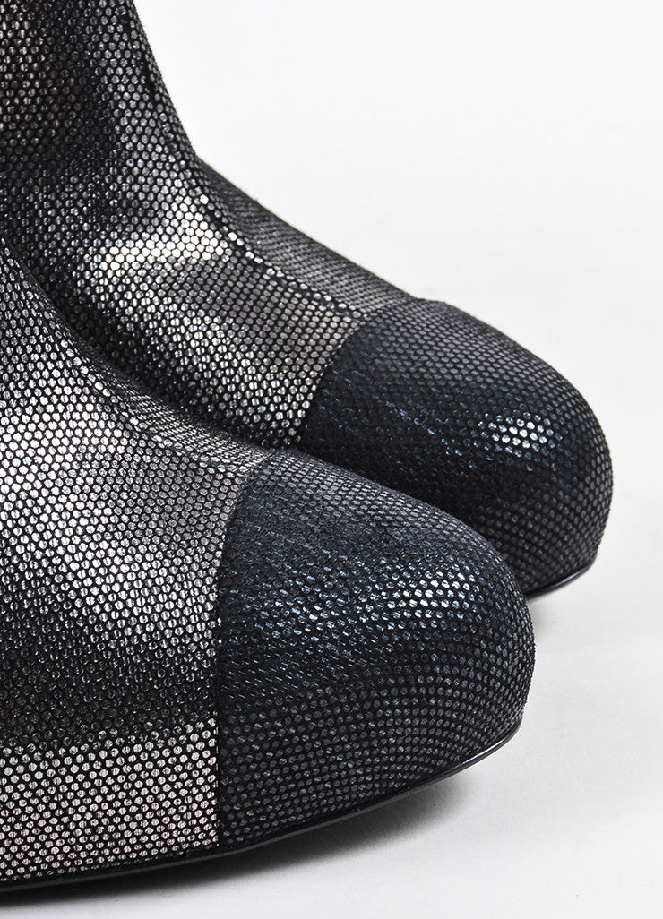 Chanel Black and Silver Metallic Patterned Cap Toe Heeled Booties Detail