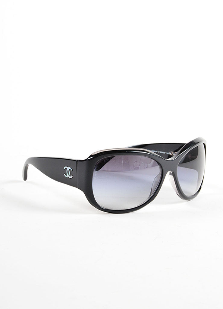 "Chanel Black Glossy ""CC"" Logo Oversized Oval Frame ""5226-H"" Sunglasses Sideview"