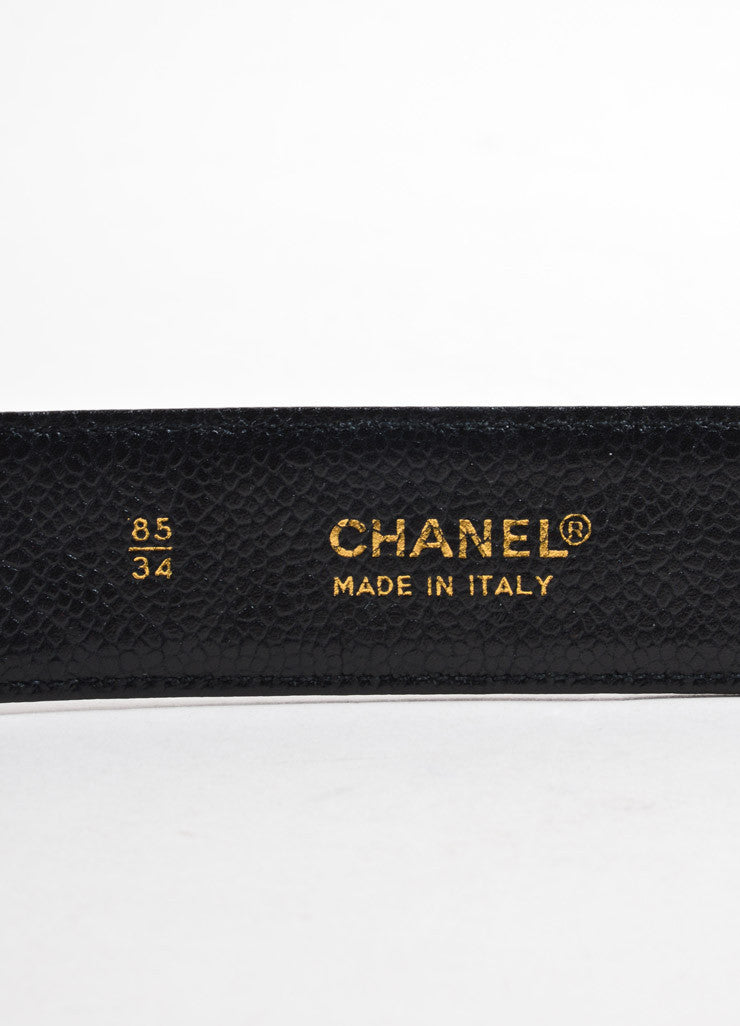 "Chanel Black and Gold Toned Caviar Leather ""CC"" Logo Chain Buckle Belt Brand"