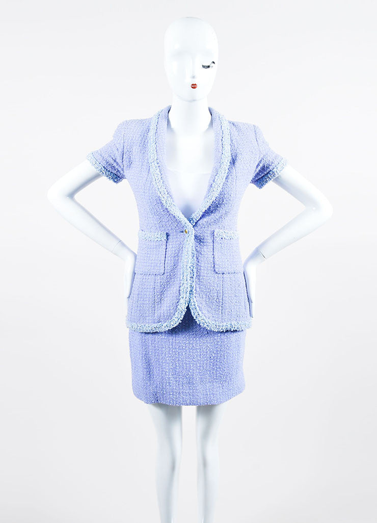 Periwinkle Metallic Chanel Tweed Sequin Trim Short Sleeve Skirt Suit  Frontview
