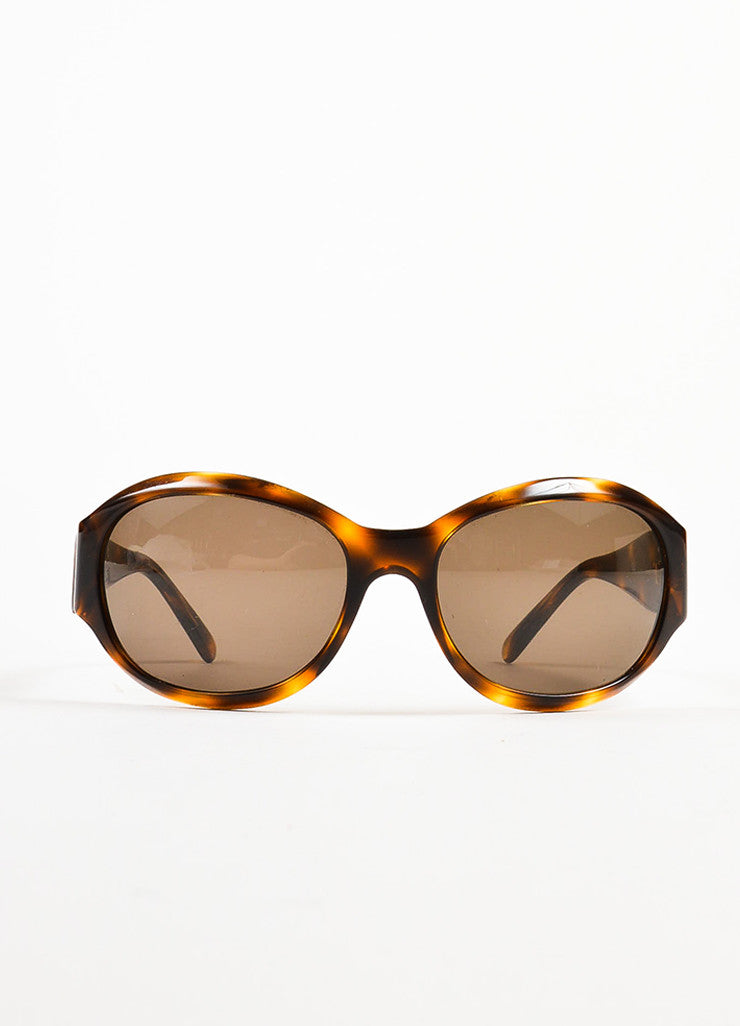 "Chanel Havana Brown Plastic Gold Toned 'CC' Rounded Frame ""5070"" Sunglasses Frontview"