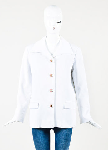 Chanel White Cotton Ribbed Pink Buttons Collared Jacket Frontview 2