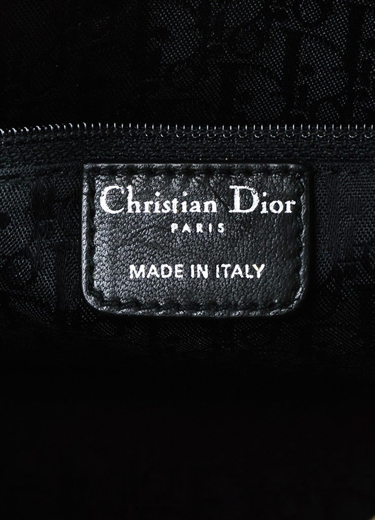 "Christian Dior Black Patent Leather Cannage Quilted Medium ""Lady Dior"" Handbag Brand"