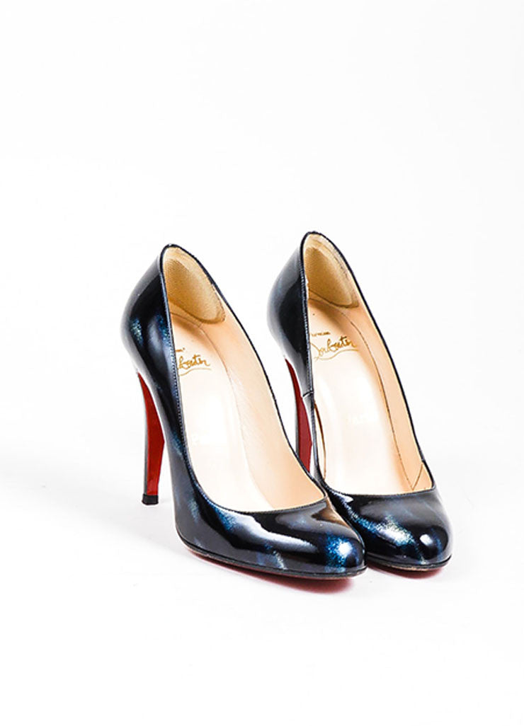 Black Blue Christian Louboutin Patent Leather Pumps Front