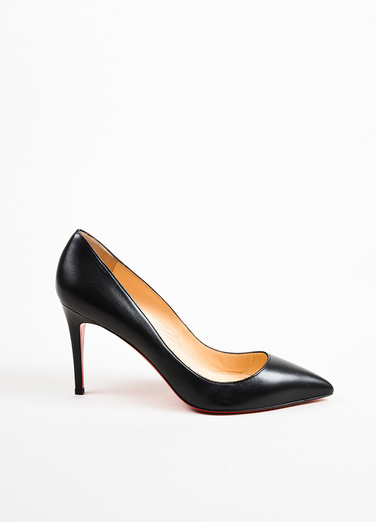 "Christian Louboutin Black Leather ""Pigalle 100"" Pointed Toe Pumps Back"