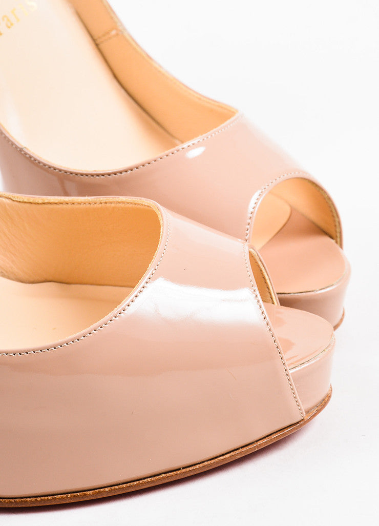 "Christian Louboutin Nude Patent Leather Peep Toe ""Very Prive"" Pumps Detail"