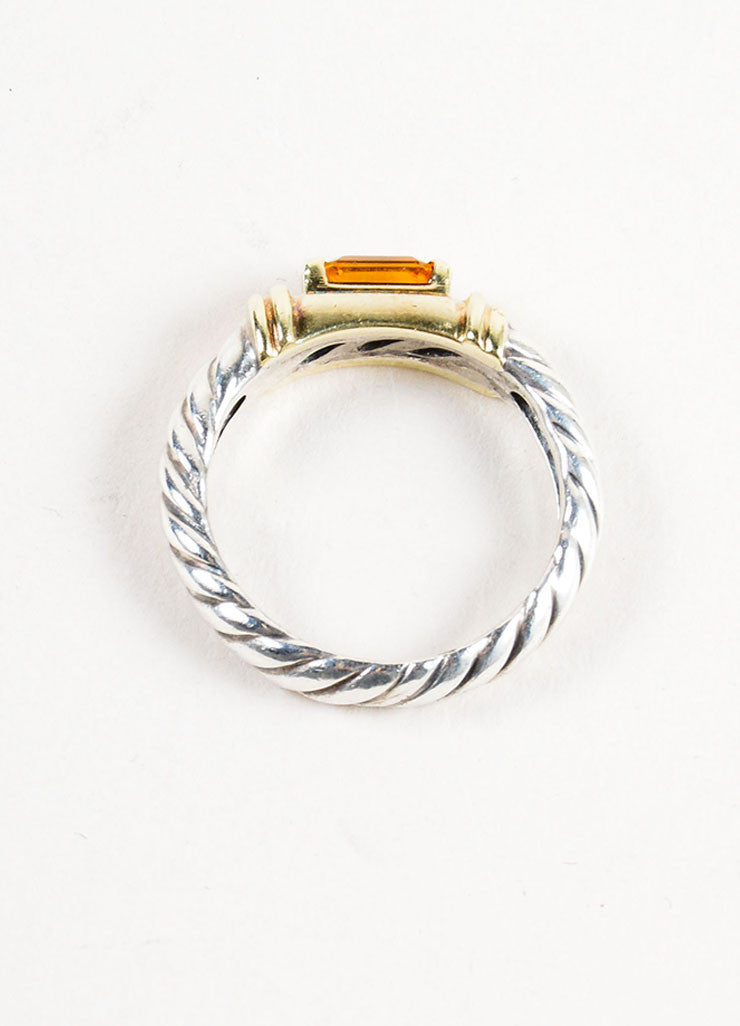 Sterling Silver, 14K Gold, and Citrine Embellished David Yurman Cable Ring Topview