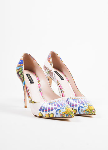 Dolce & Gabbana Beige and Multicolor Leather Print Pointed Toe Pumps Frontview