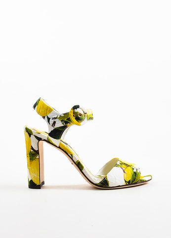 Dolce & Gabbana Yellow and White Brocade Lemon Print Heeled Sandals Sideview