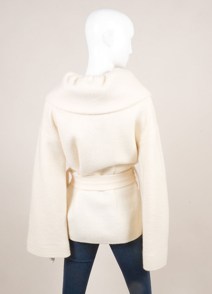 Escada Cream Wool Oversized Collar Bell Sleeve Belted Coat Backview