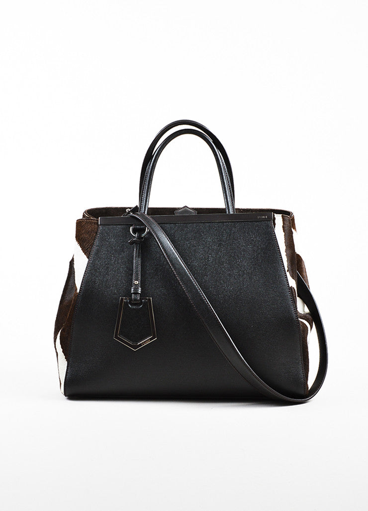 "Fendi Black, Brown, and White Leather Pony Hair ""2 Jours"" Handbag Frontview"