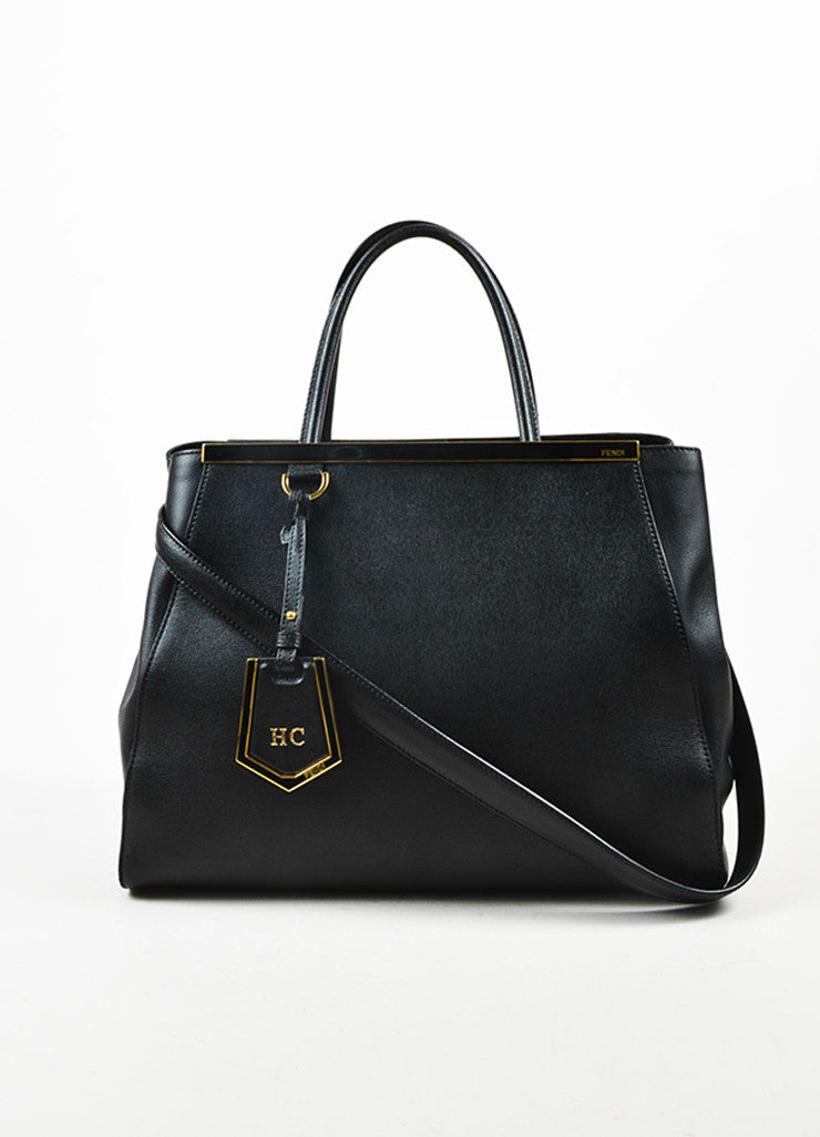 "Fendi Black Leather Gold Toned Hardware Structured ""2 Jours Shopper"" Shoulder Bag Frontview"