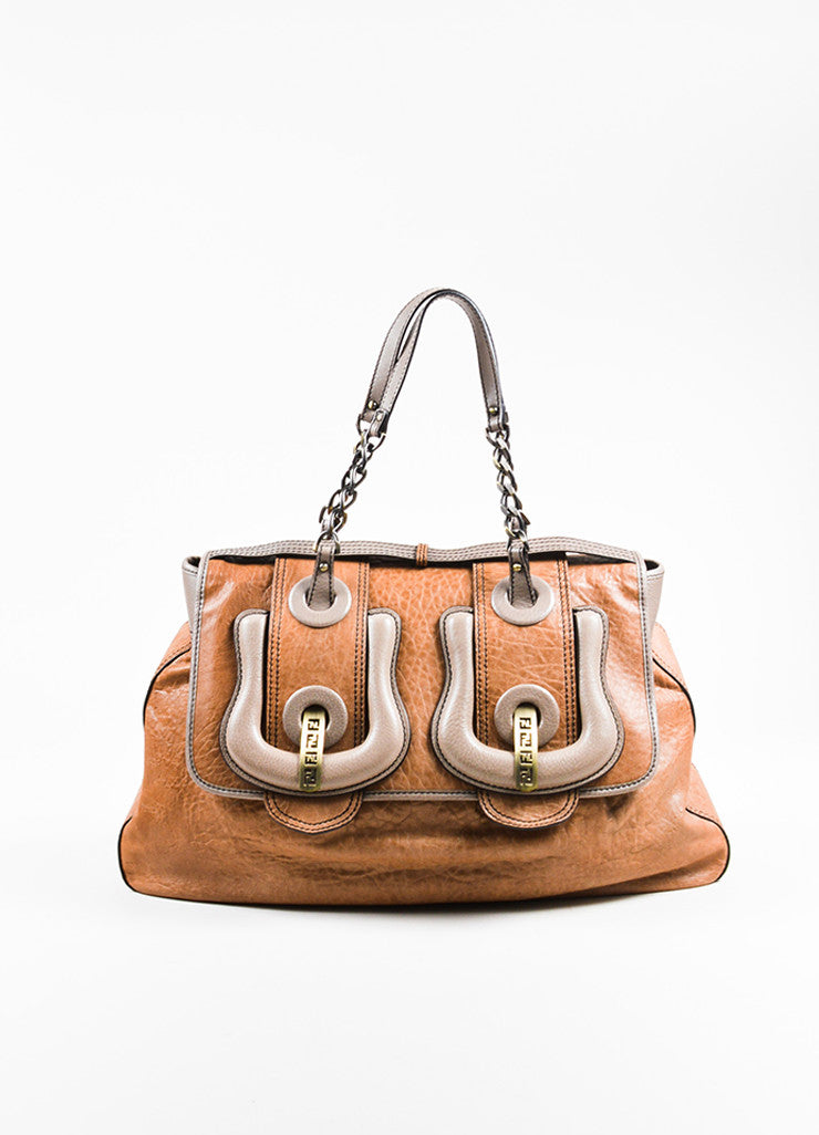 "Tan and Grey Fendi Leather ""B Bag"" Flap Large Buckle Shoulder Bag  Frontview"