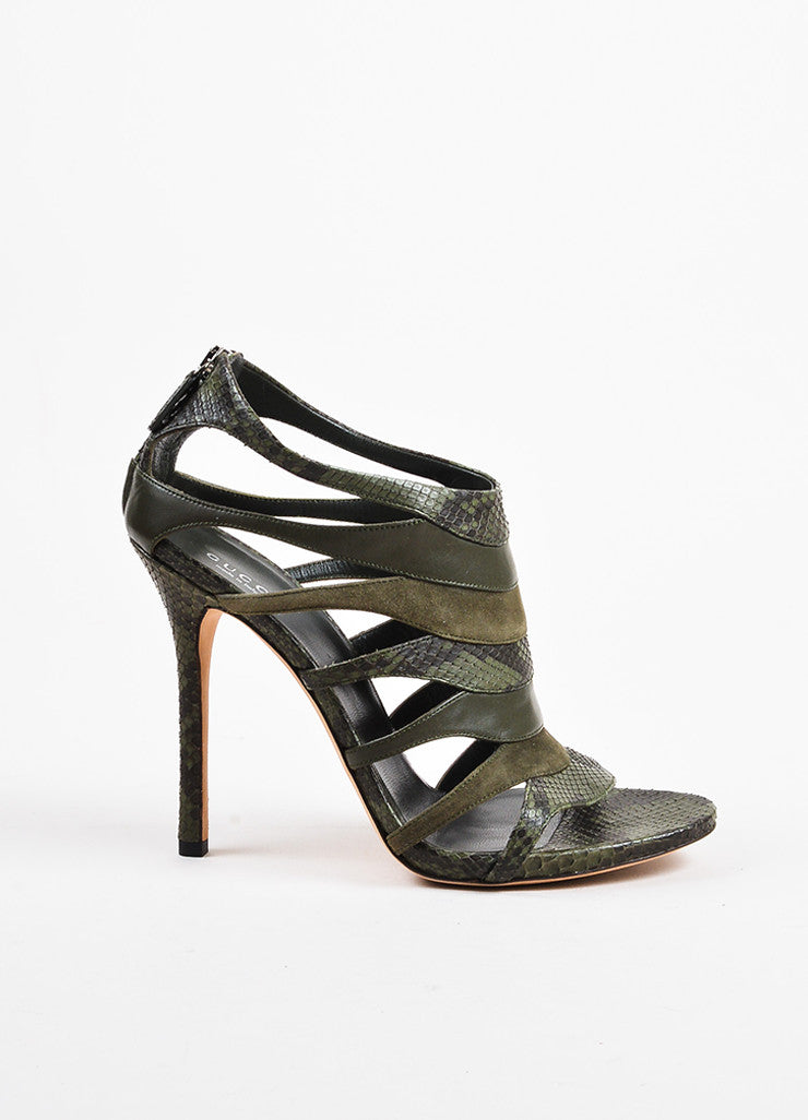 "Olive Green Gucci Python Leather Cage Heeled ""Soraya"" Sandals Side"