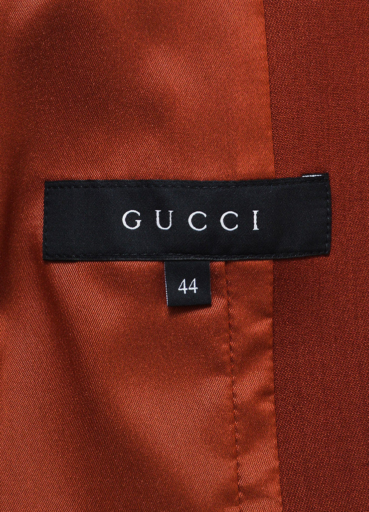 Brick Red Gucci Wool Long Sleeve Blazer Jacket Brand