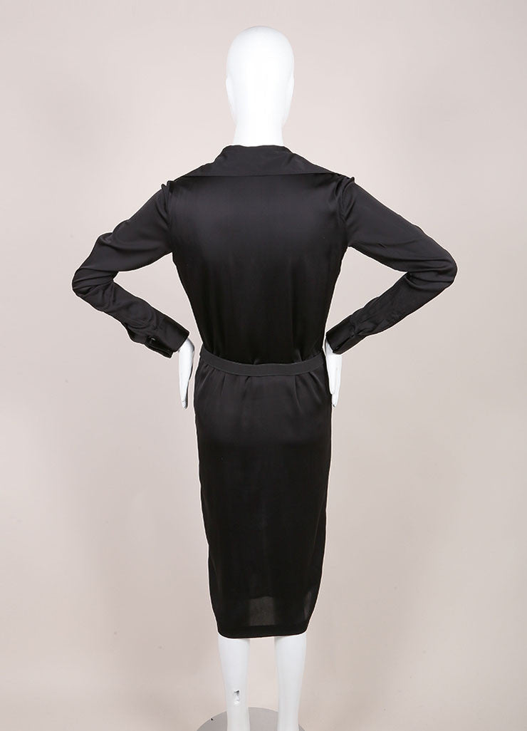 Tom Ford for Gucci Black Silky Ruffle Trim Pleated Skirt Backview