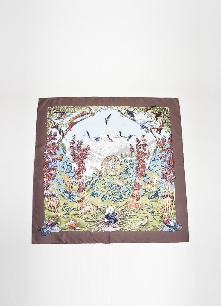"Multicolor Hermes Silk Animal Landscape Print ""Sichuan"" 90cm Scarf Frontview 2"