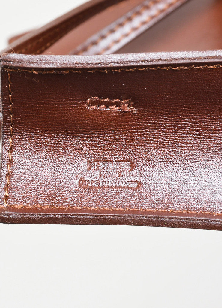 "Dark Brown Leather Hermes ""Onimaitou"" Flat Pouch Crossbody Bag Brand"