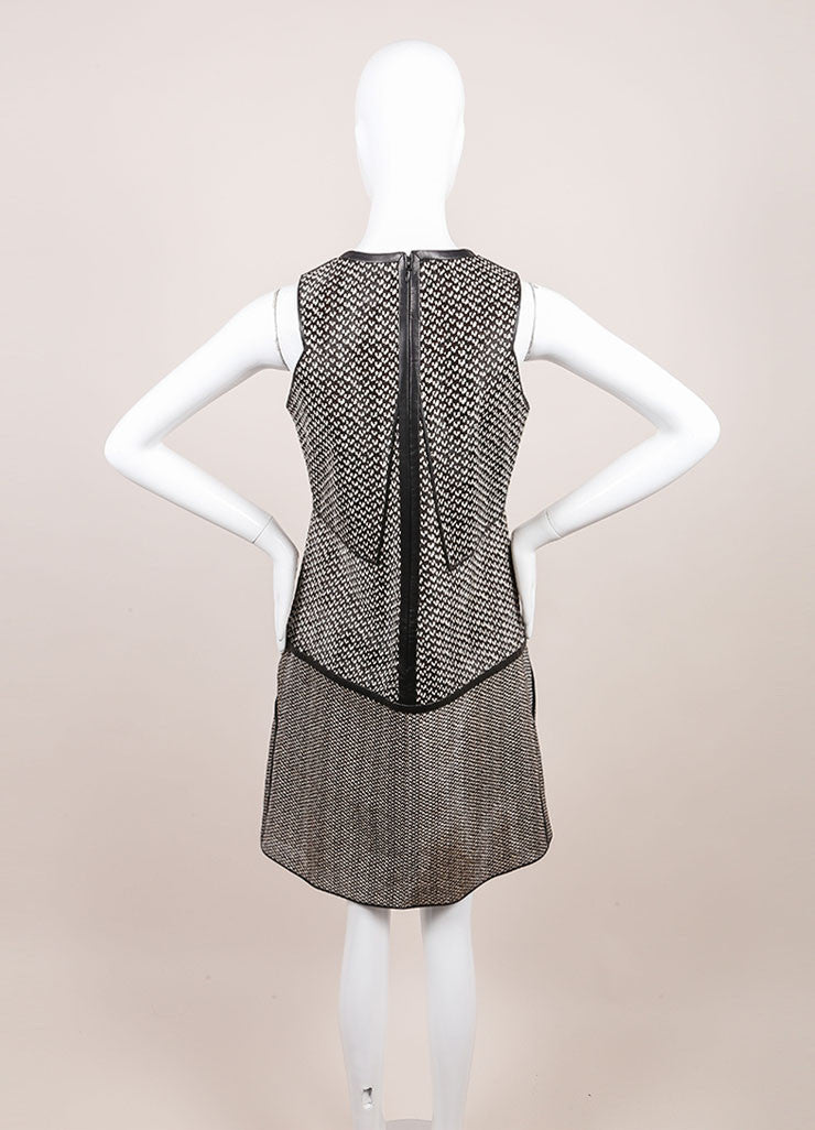 J. Mendel New With Tags Black and White Haircalf Leather Dropped Waist Dress Backview