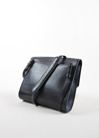 "J. Mendel Black and Navy Leather Handle Flap ""Midi Clutch"" Cross Body Bag Sideview"