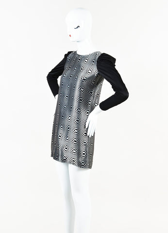 Junya Watanabe Comme des Garcons Black Silver Metallic Check Dress Side