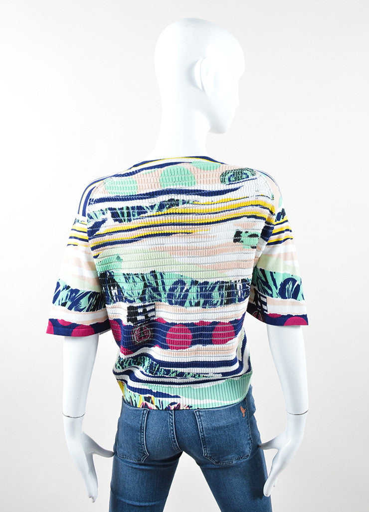 "Kenzo Multicolor ""Torn Paper"" Print Short Sleeve Sweater Backview"