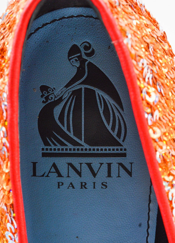 Lanvin Orange, Silver, and Gold Leather Sequined Pumps Brand