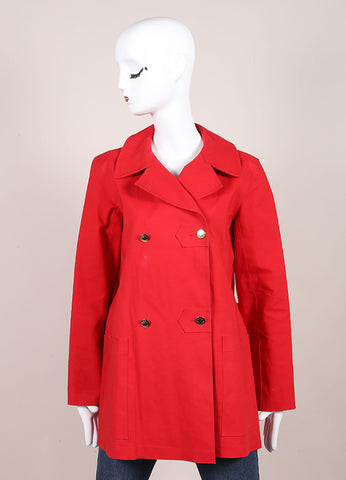 "Louis Vuitton Red Cotton Double Breasted ""Mackintosh"" Short Trench Coat Frontview"