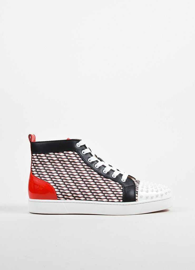"Men's Christian Louboutin Black, White, and Red ""Lou Spike"" Hi Top Sneakers Sideview"