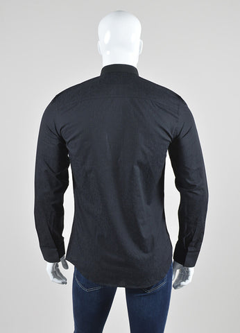Men's Givenchy Black Cotton Button Down Layer Collar Long Sleeve Shirt Backview