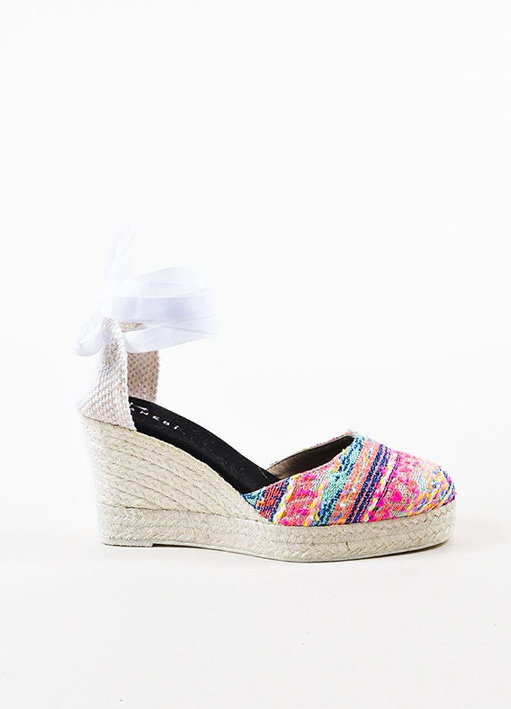 Manebi Pink and Multicolor Tweed Ankle Wrap Espadrille Wedge Heels Sideview