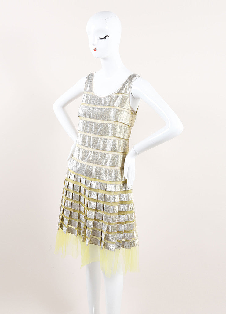 Marc Jacobs Yellow and Gold Metallic Striped Pleated Sleeveless Dress Sideview