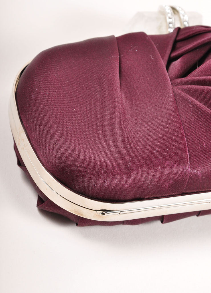 "Marchesa Burgundy Red Gathered Satin Quartz Latch ""Lily"" Clutch Bag Detail"