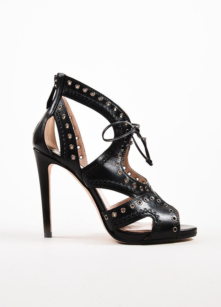 Miu Miu Black Leather Lace Up Grommet Sandal Heels Sideview