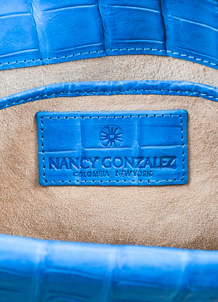 "Nancy Gonzalez ""Ocean"" Blue Crocodile & Suede Leather East West Clutch brand"