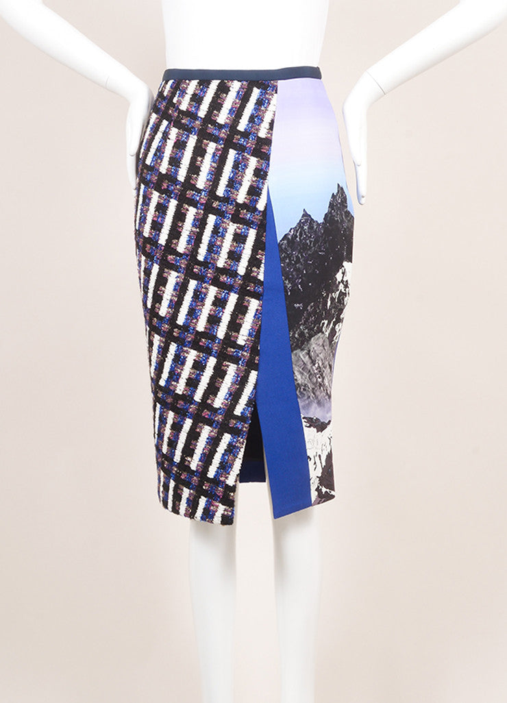 Peter Pilotto New With Tags Royal Blue and Black Wool Woven Tweed Printed Skirt Frontview